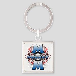 Hockey Mom (cross) Square Keychain
