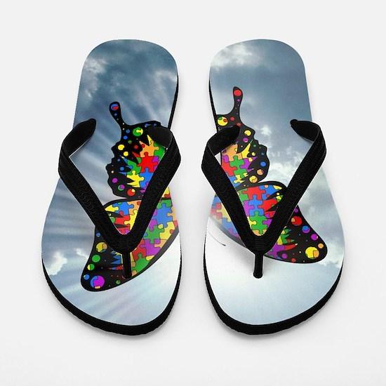autism butterfly sky - square Flip Flops