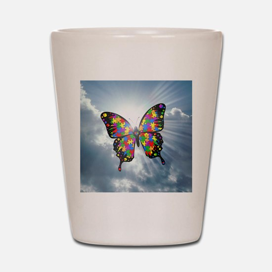 autism butterfly sky - square Shot Glass