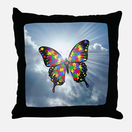 autism butterfly sky - square Throw Pillow