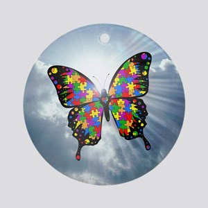 autism butterfly sky - square Round Ornament