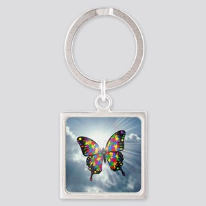 autism butterfly sky - square Square Keychain