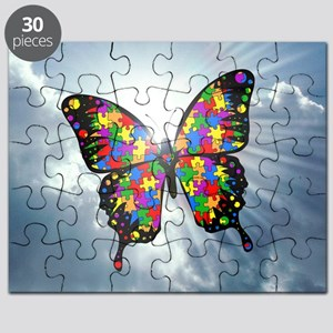 autism butterfly sky - square Puzzle
