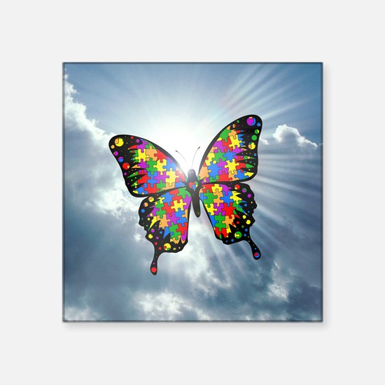 """autism butterfly sky - squa Square Sticker 3"""" x 3"""""""