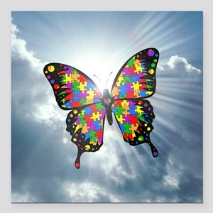 """autism butterfly sky - s Square Car Magnet 3"""" x 3"""""""