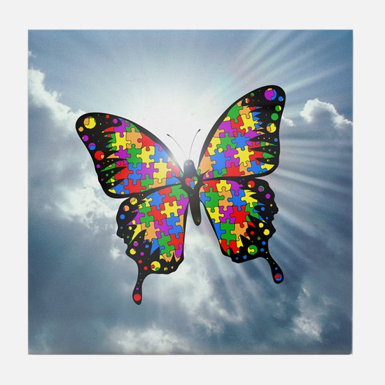autism butterfly sky - square Tile Coaster