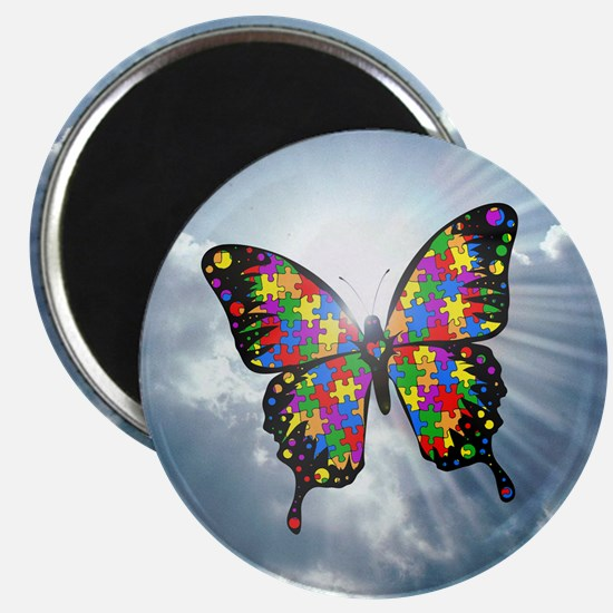 autism butterfly sky - square Magnet