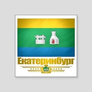 "Yekaterinburg Flag Square Sticker 3"" x 3"""