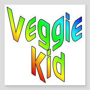 """veggiekid Square Car Magnet 3"""" x 3"""""""