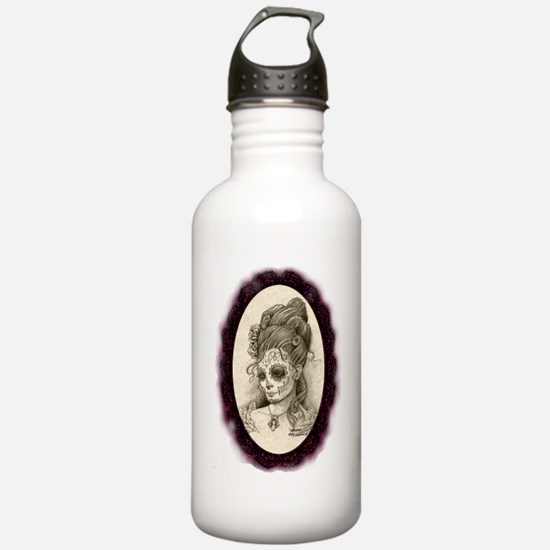Maroon Dia de los Muer Sports Water Bottle