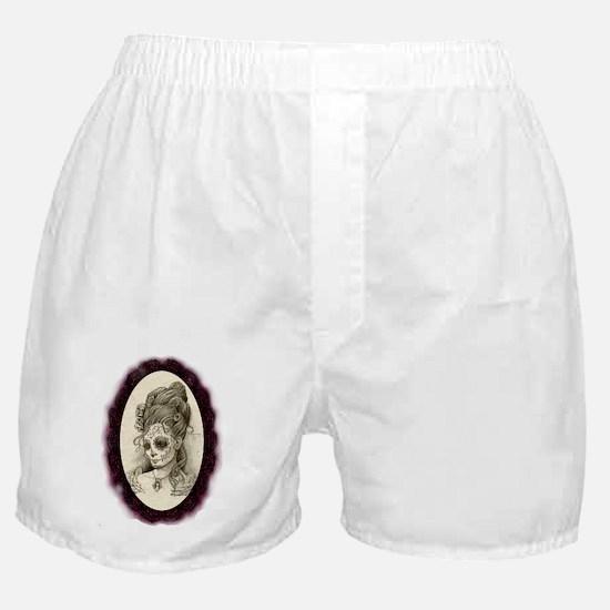 Maroon Dia de los Muertos Boxer Shorts