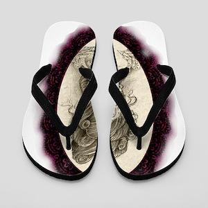 Maroon Dia de los Muertos Flip Flops