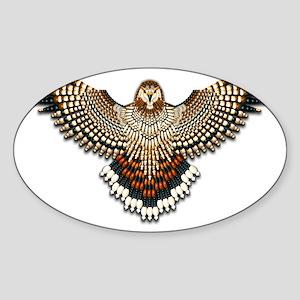 Beadwork Red-Tailed Hawk Sticker (Oval)