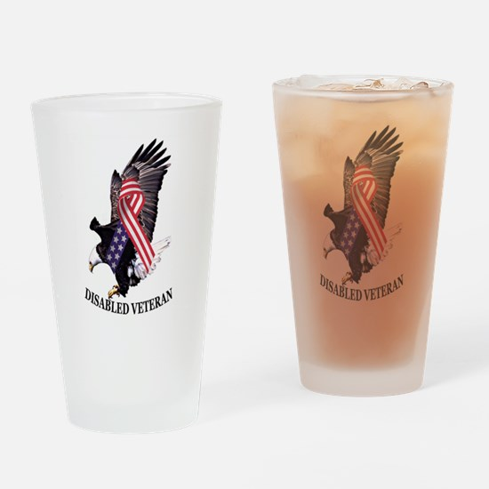 Disabled Veteran Eagle and Ribbon Drinking Glass