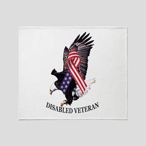 Disabled Veteran Eagle And Ribbon Throw Blanket