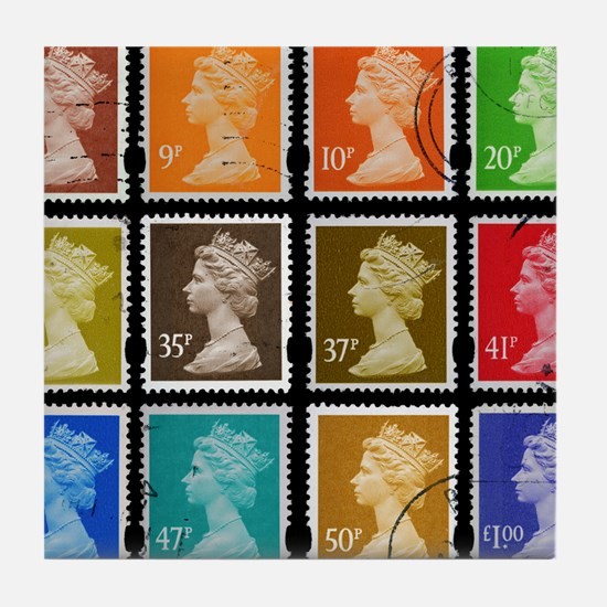 UK Stamps Tile Coaster
