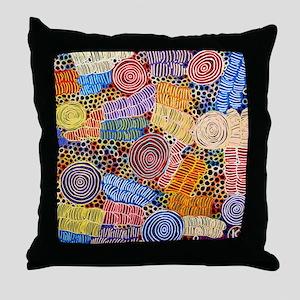 AUSTRALIAN ABORIGINAL ART IN CIRCLES Throw Pillow