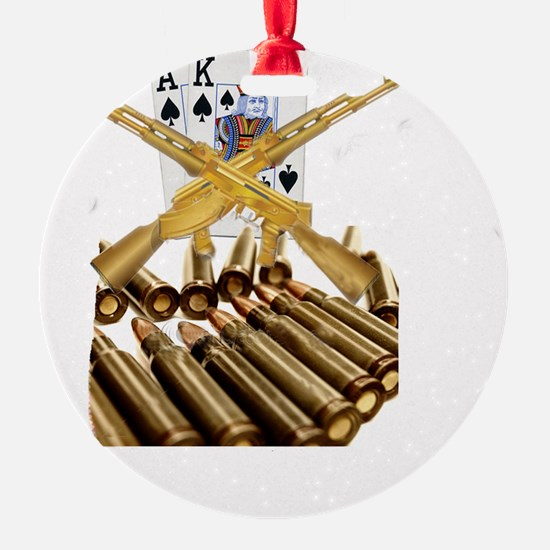 Ace King with Gold AK 47 Ornament