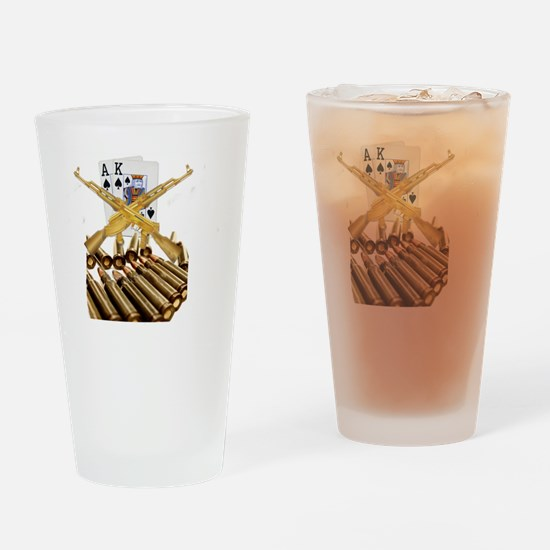 Ace King with Gold AK 47 Drinking Glass