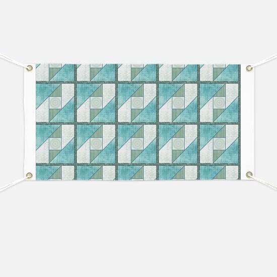 Attic Window Mint Green  Blue Quilt Blocks  Banner