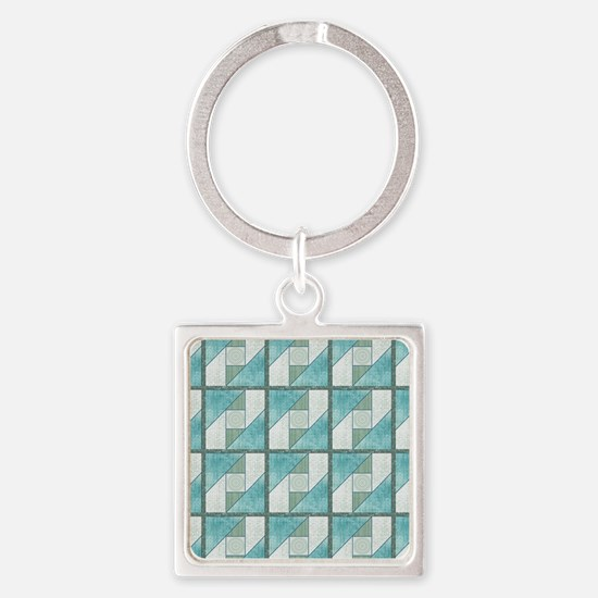 Attic Window Mint Green  Blue Quil Square Keychain