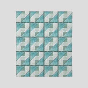 Attic Window Mint Green  Blue Quilt  Throw Blanket