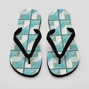 Attic Window Mint Green  Blue Quilt Blo Flip Flops