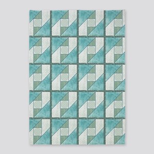 Attic Window Mint Green  Blue Quilt 5'x7'Area Rug