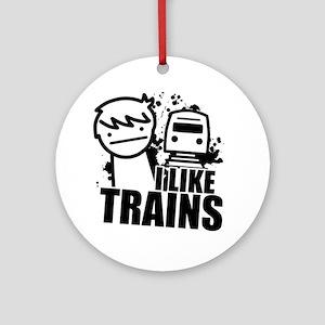 I Like Trains! Round Ornament