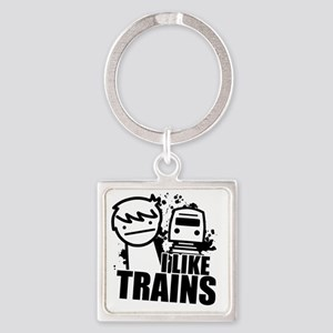 I Like Trains! Square Keychain