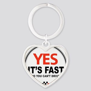 Yes Its Fast Heart Keychain