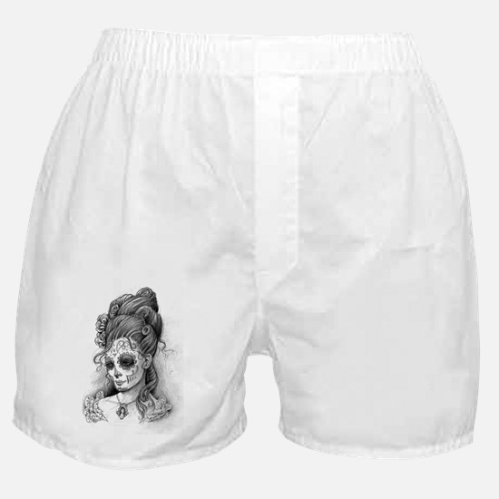 Maroon dia de los Muertos pillow case Boxer Shorts