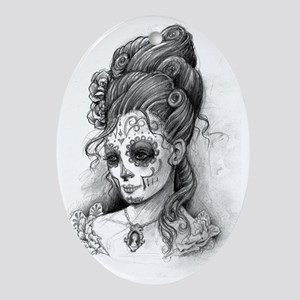 Maroon dia de los Muertos pillow cas Oval Ornament