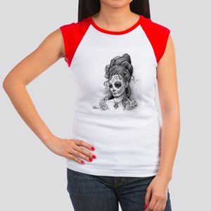 Maroon Dia de los Muert Women's Cap Sleeve T-Shirt