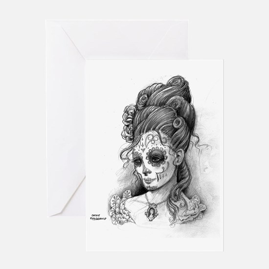 Maroon Dia de los Muertos pillow cas Greeting Card