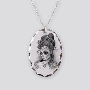 Maroon Dia de los Muertos pill Necklace Oval Charm