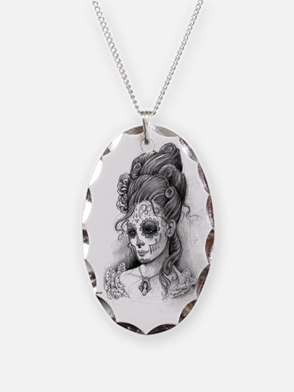 Maroon Dia de los Muertos pill Necklace