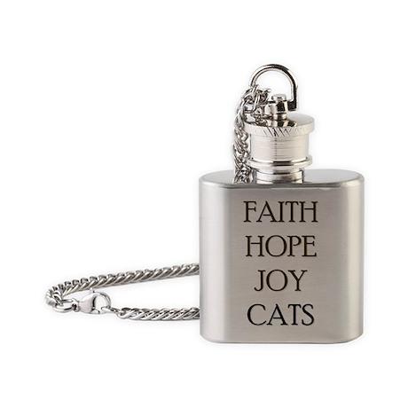 FAITH HOPE JOY CATS Flask Necklace