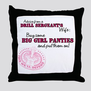 Advice from a Drill Sergeants Wife Throw Pillow