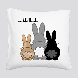 Rabbittude Posse Square Canvas Pillow