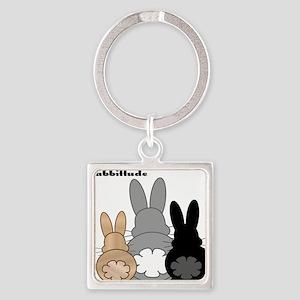 Rabbittude Posse Square Keychain