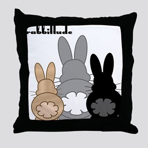 Rabbittude Posse Throw Pillow