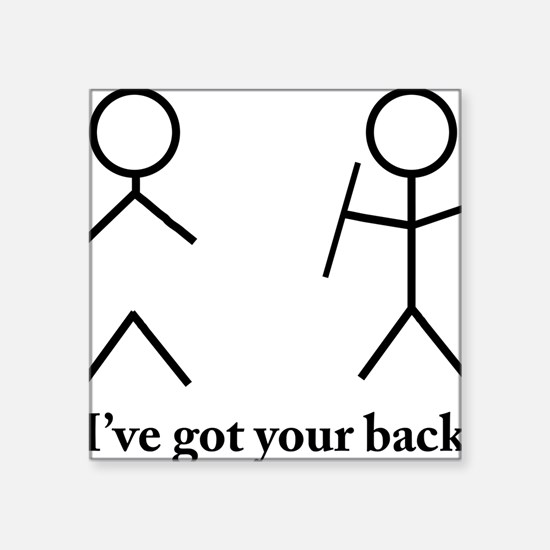 "Stick Figure Humor Square Sticker 3"" x 3"""