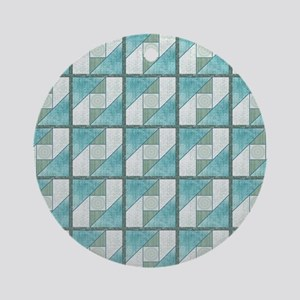 Attic Window Mint Green  Blue Quilt Round Ornament