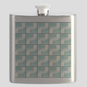 Attic Window Mint Green  Blue Quilt Blocks S Flask