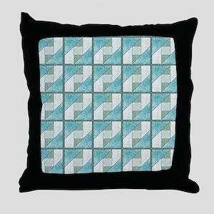 Attic Window Mint Green  Blue Quilt B Throw Pillow