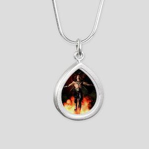 Phoenix Reborn Silver Teardrop Necklace