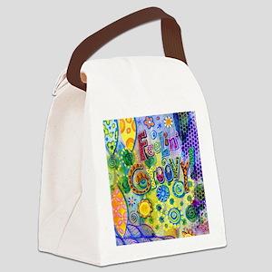 Feelin Groovy Square Canvas Lunch Bag