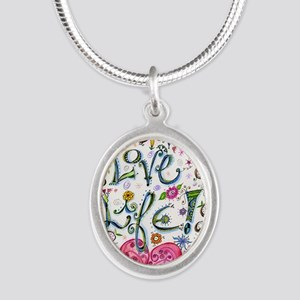 Love Life Silver Oval Necklace