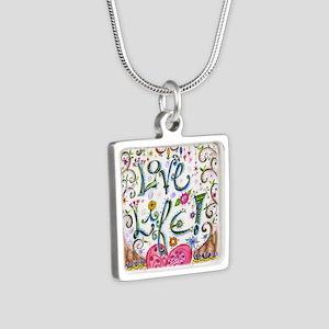 Love Life Silver Square Necklace